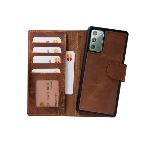 "Liluri Magnetic Detachable Leather Wallet Case for Samsung Galaxy Note 20 / Note 20 5G (6.7"") - TAN - saracleather"