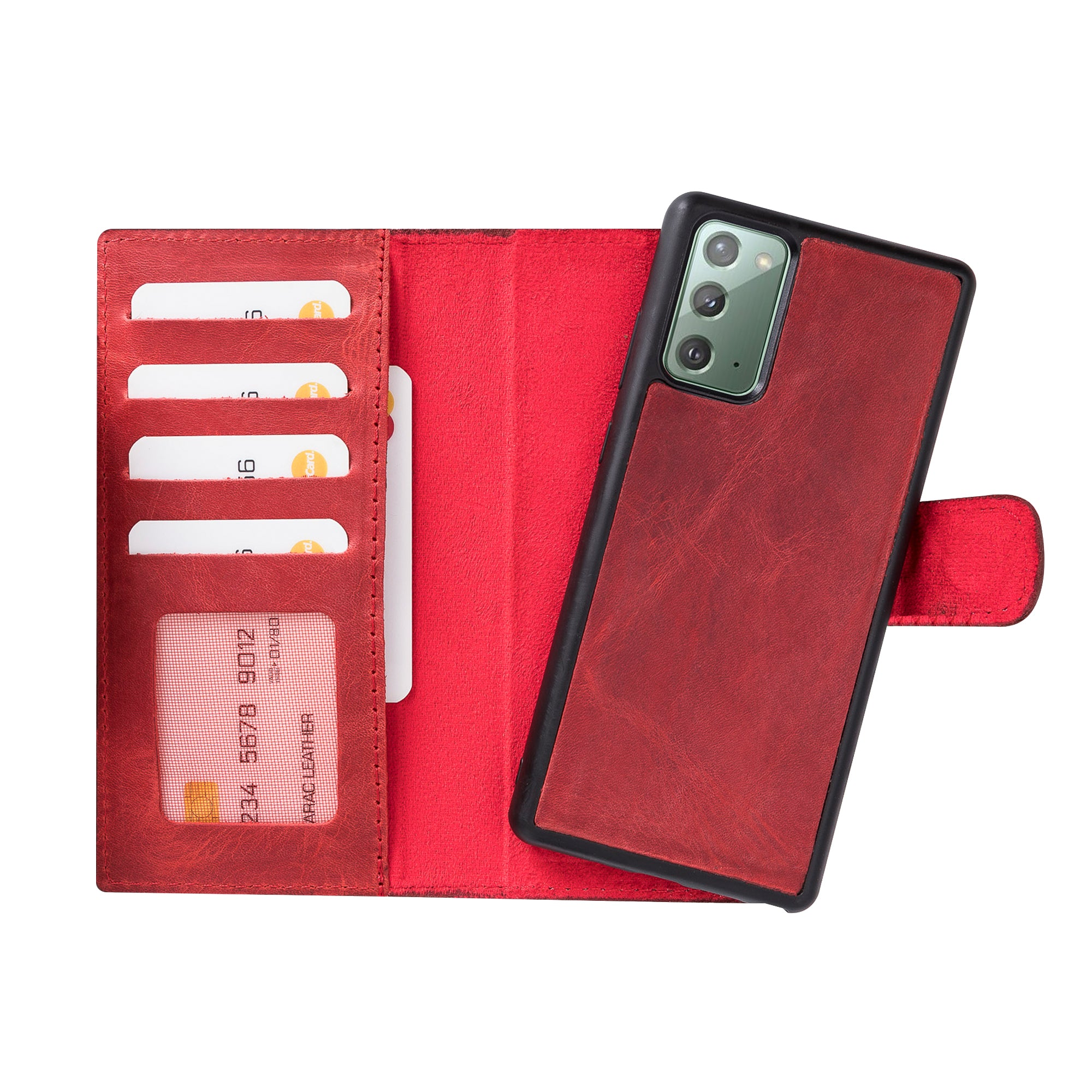 "Liluri Magnetic Detachable Leather Wallet Case for Samsung Galaxy Note 20 (6.7"") - RED - saracleather"