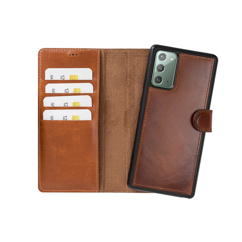 "Magic Magnetic Detachable Leather Wallet Case for Samsung Galaxy Note 20 / Note 20 5G (6.7"") - EFFECT BROWN - saracleather"