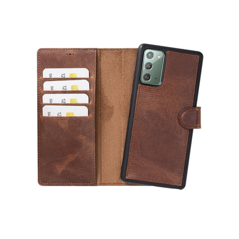 "Magic Magnetic Detachable Leather Wallet Case for Samsung Galaxy Note 20 (6.7"") - BROWN - saracleather"