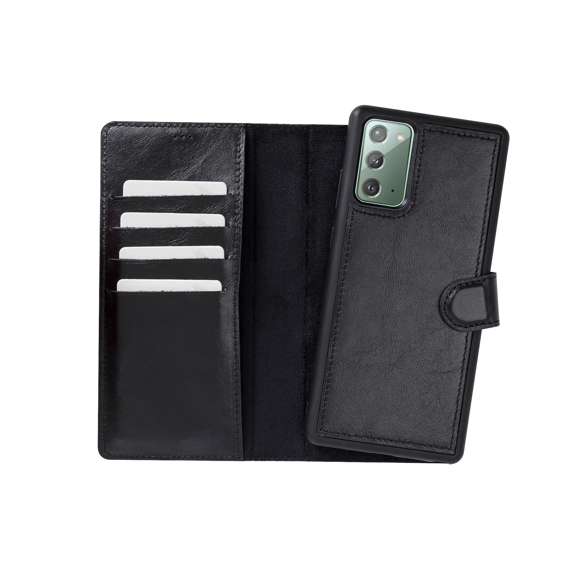 "Magic Magnetic Detachable Leather Wallet Case for Samsung Galaxy Note 20 / Note 20 5G (6.7"") - BLACK - saracleather"