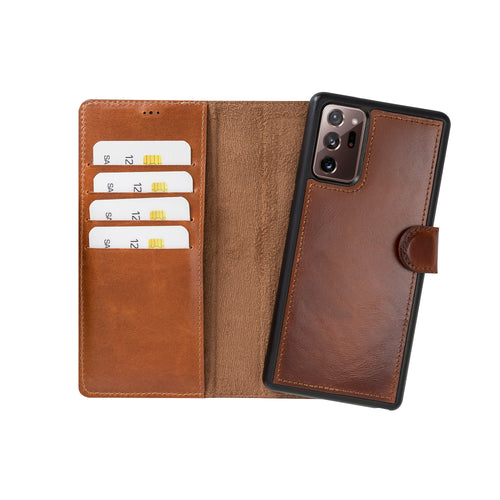 "Magic Magnetic Detachable Leather Wallet Case for Samsung Galaxy Note 20 Ultra / Note 20 Ultra 5G (6.9"") - EFFECT BROWN - saracleather"