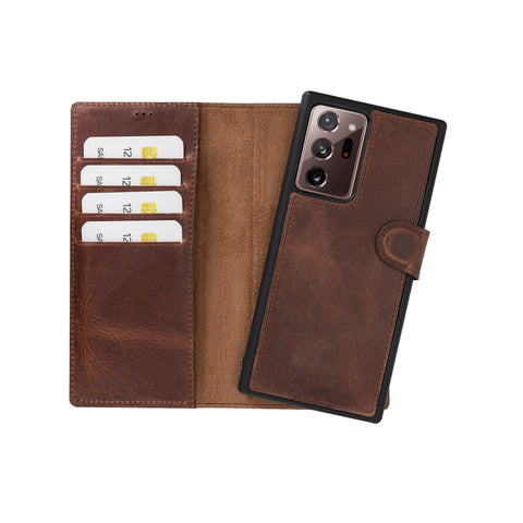 "Magic Magnetic Detachable Leather Wallet Case for Samsung Galaxy Note 20 Ultra / Note 20 Ultra 5G (6.9"") - BROWN - saracleather"