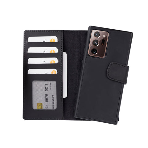 "Liluri Magnetic Detachable Leather Wallet Case for Samsung Galaxy Note 20 Ultra / Note 20 Ultra 5G (6.9"") - BLACK - saracleather"