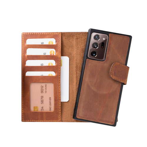"Liluri Magnetic Detachable Leather Wallet Case for Samsung Galaxy Note 20 Ultra (6.9"") - TAN - saracleather"