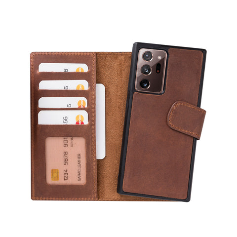 "Liluri Magnetic Detachable Leather Wallet Case for Samsung Galaxy Note 20 Ultra / Note 20 Ultra 5G (6.9"") - BROWN - saracleather"