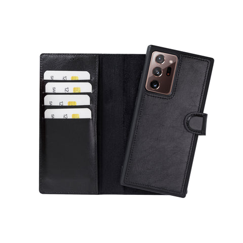 "Magic Magnetic Detachable Leather Wallet Case for Samsung Galaxy Note 20 Ultra (6.9"") - BLACK - saracleather"
