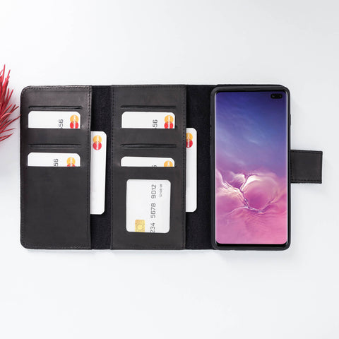 Santa Magnetic Detachable Leather Tri-Fold Wallet Case for Samsung Galaxy S10 Plus - BLACK - saracleather