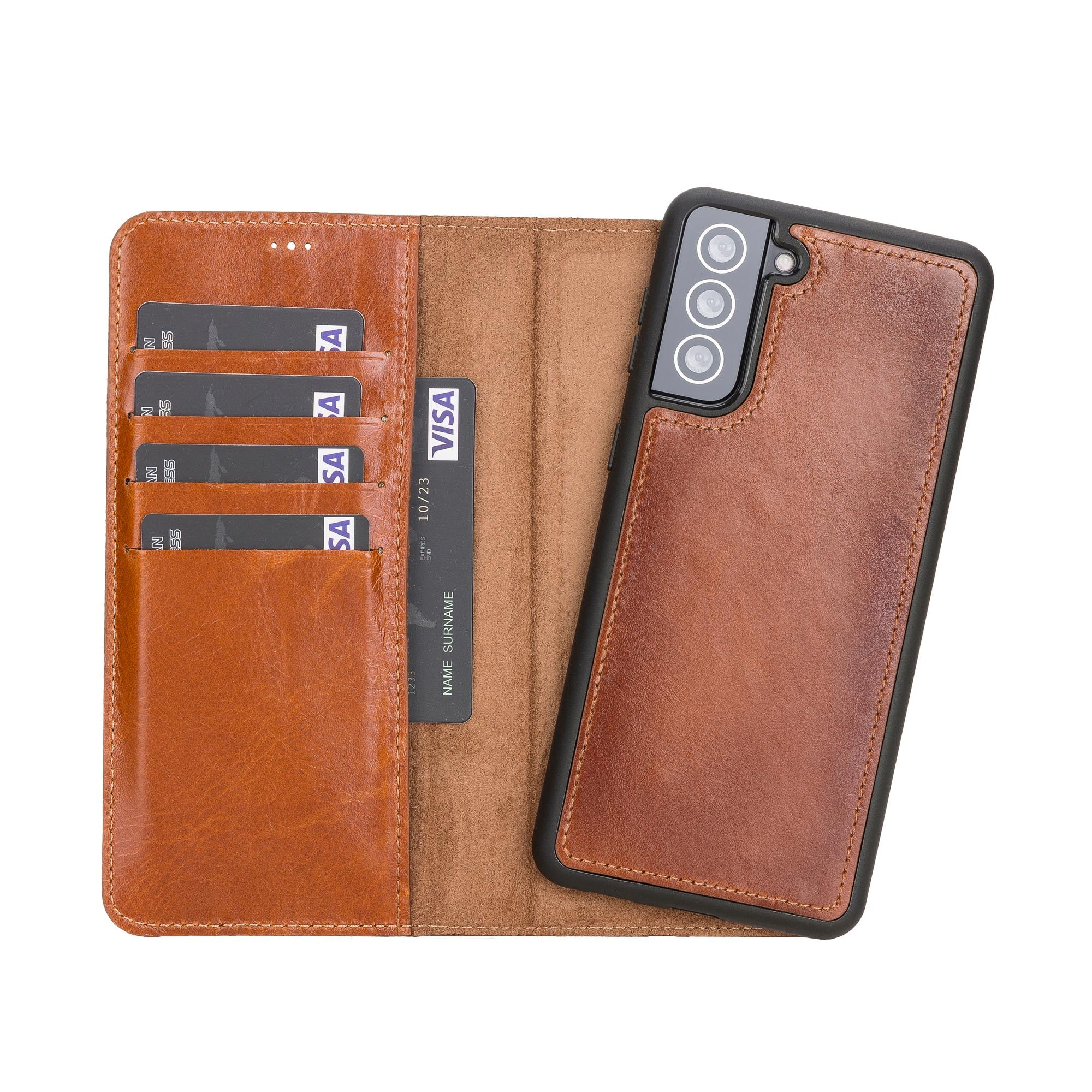 "Magic Magnetic Detachable Leather Wallet Case for Samsung Galaxy S21 5G (6.2"") - EFFECT BROWN - saracleather"