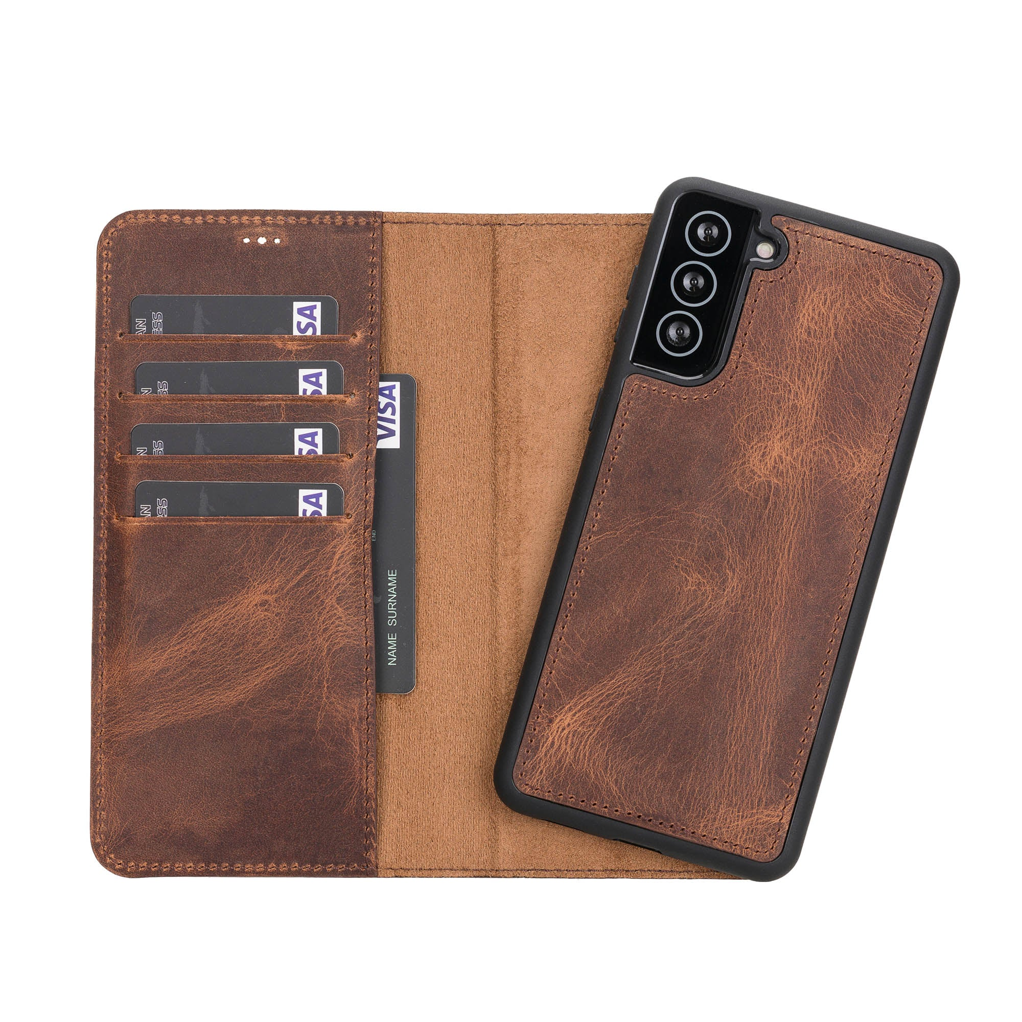 "Magic Magnetic Detachable Leather Wallet Case for Samsung Galaxy S21 Plus 5G (6.7"") - BROWN - saracleather"