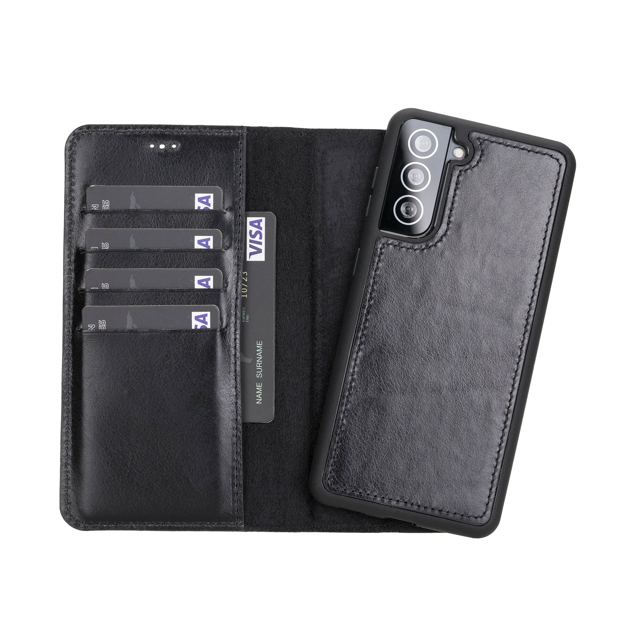 "Magic Magnetic Detachable Leather Wallet Case for Samsung Galaxy S21 Plus 5G (6.7"") - BLACK - saracleather"