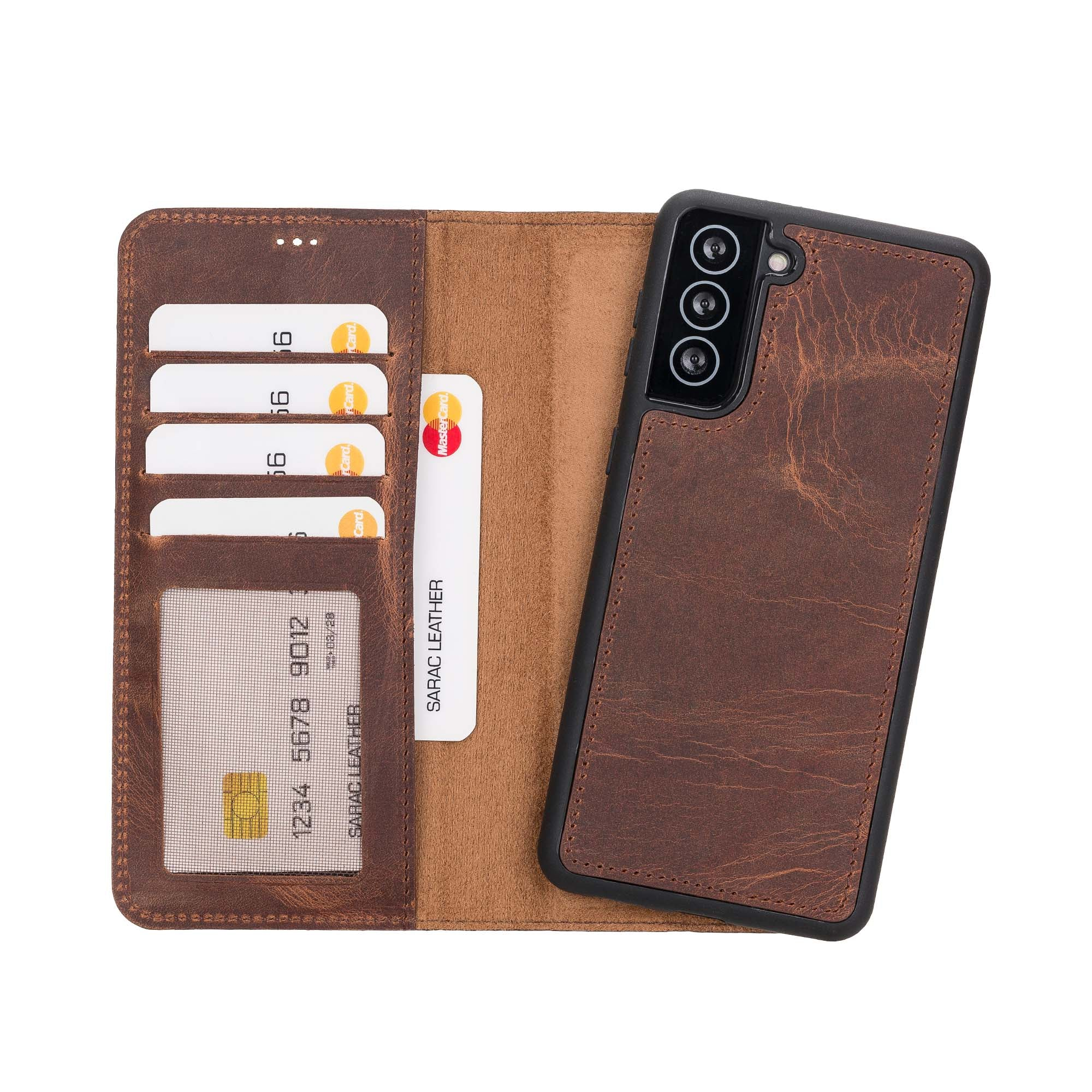 "Liluri Magnetic Detachable Leather Wallet Case for Samsung Galaxy S21 Plus 5G (6.7"") - BROWN"