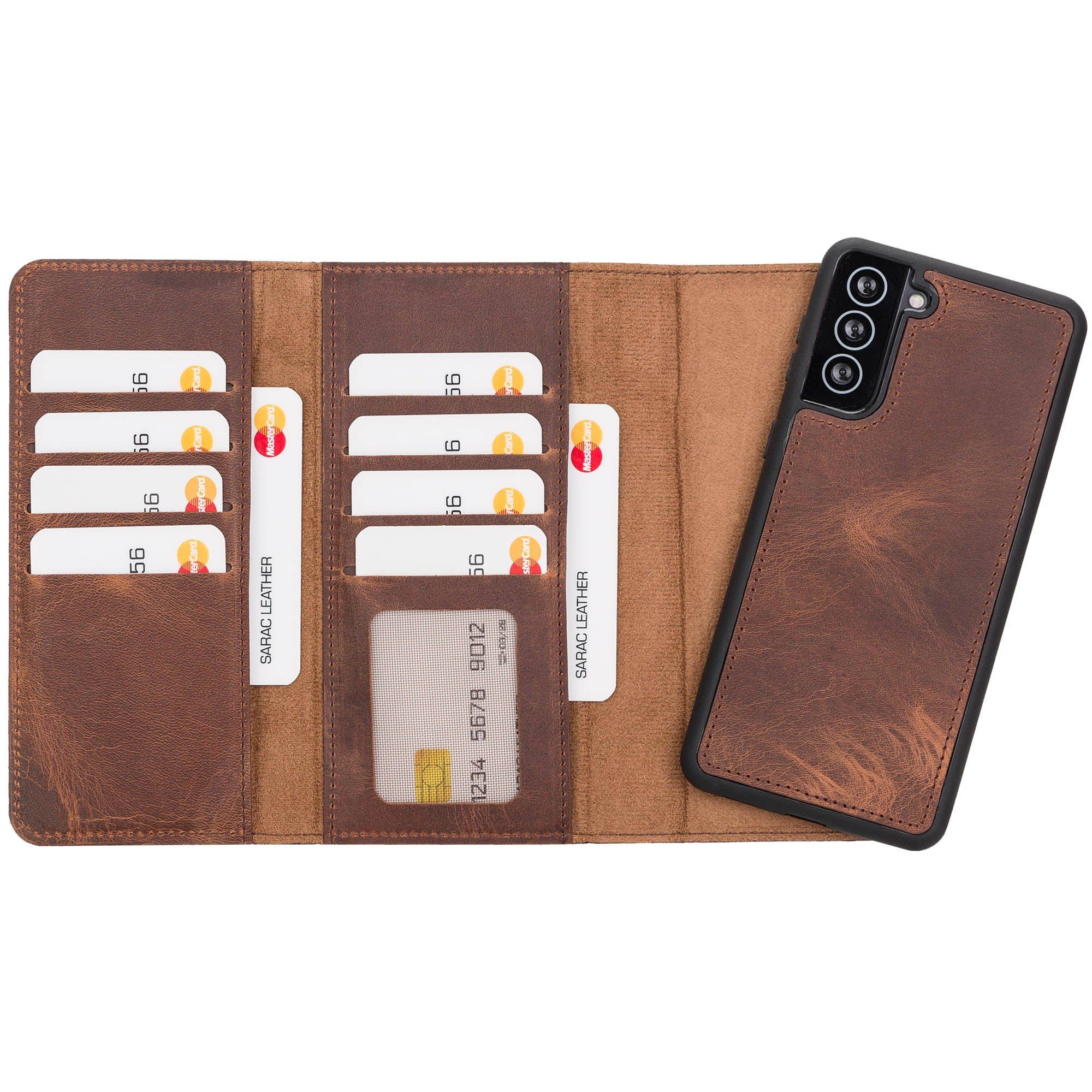 "Santa Magnetic Detachable Leather Wallet Case for Samsung Galaxy S21 Plus 5G (6.7"") - BROWN - saracleather"