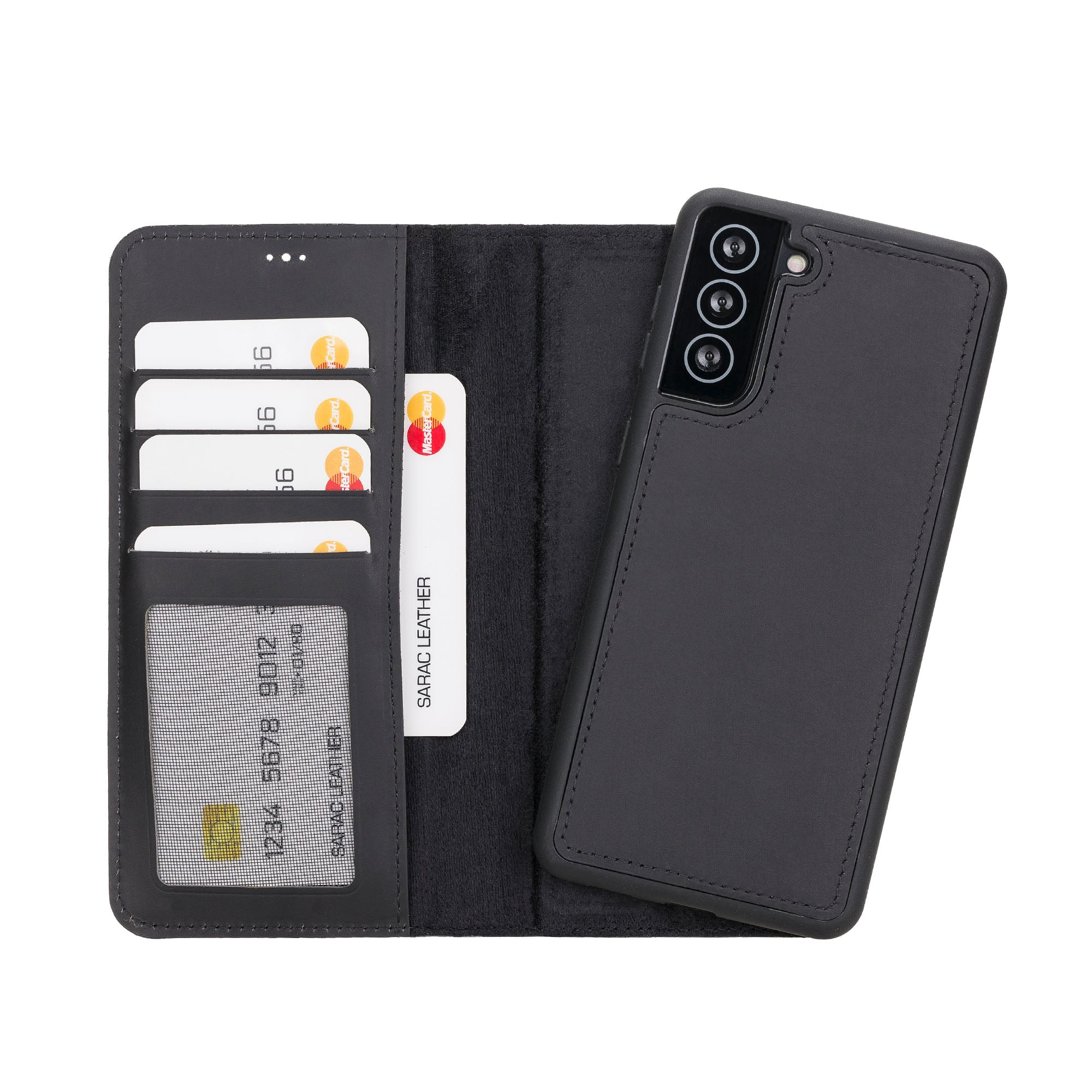 "Liluri Magnetic Detachable Leather Wallet Case for Samsung Galaxy S21 Plus 5G (6.7"") - BLACK - saracleather"