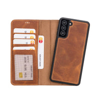 "Liluri Magnetic Detachable Leather Wallet Case for Samsung Galaxy S21 Plus 5G (6.7"") - TAN - saracleather"