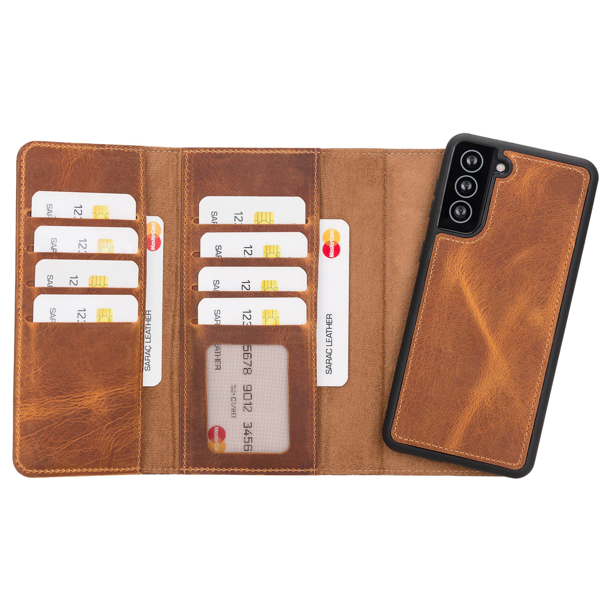 "Santa Magnetic Detachable Leather Wallet Case for Samsung Galaxy S21 Plus 5G (6.7"") - TAN - saracleather"