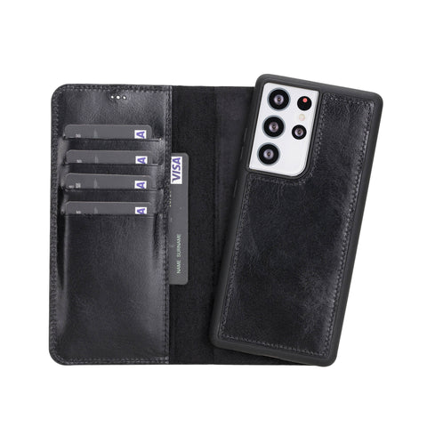 "Magic Magnetic Detachable Leather Wallet Case for Samsung Galaxy S21 Ultra 5G (6.8"") - BLACK - saracleather"