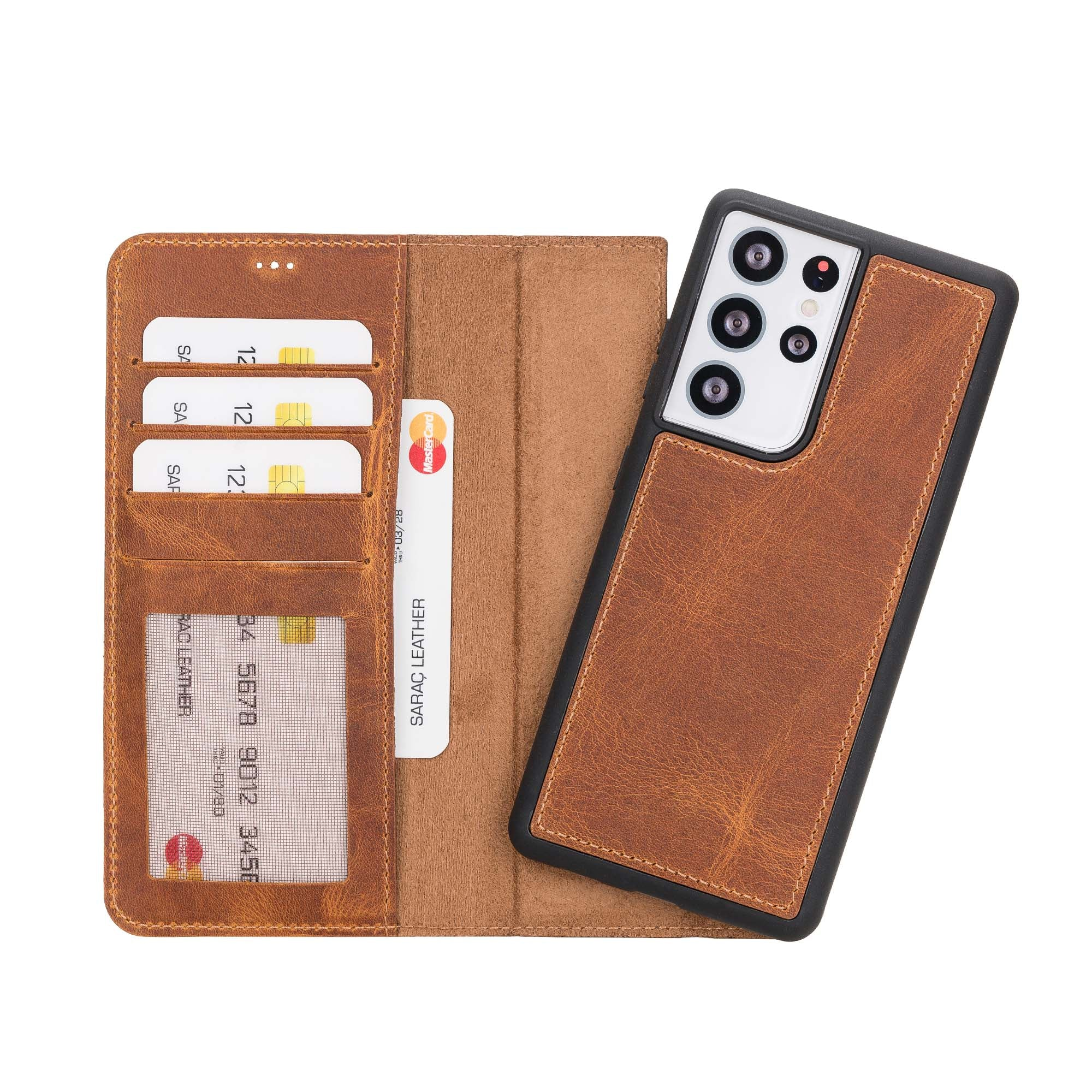 "Liluri Magnetic Detachable Leather Wallet Case for Samsung Galaxy S21 Ultra 5G (6.8"") - TAN"