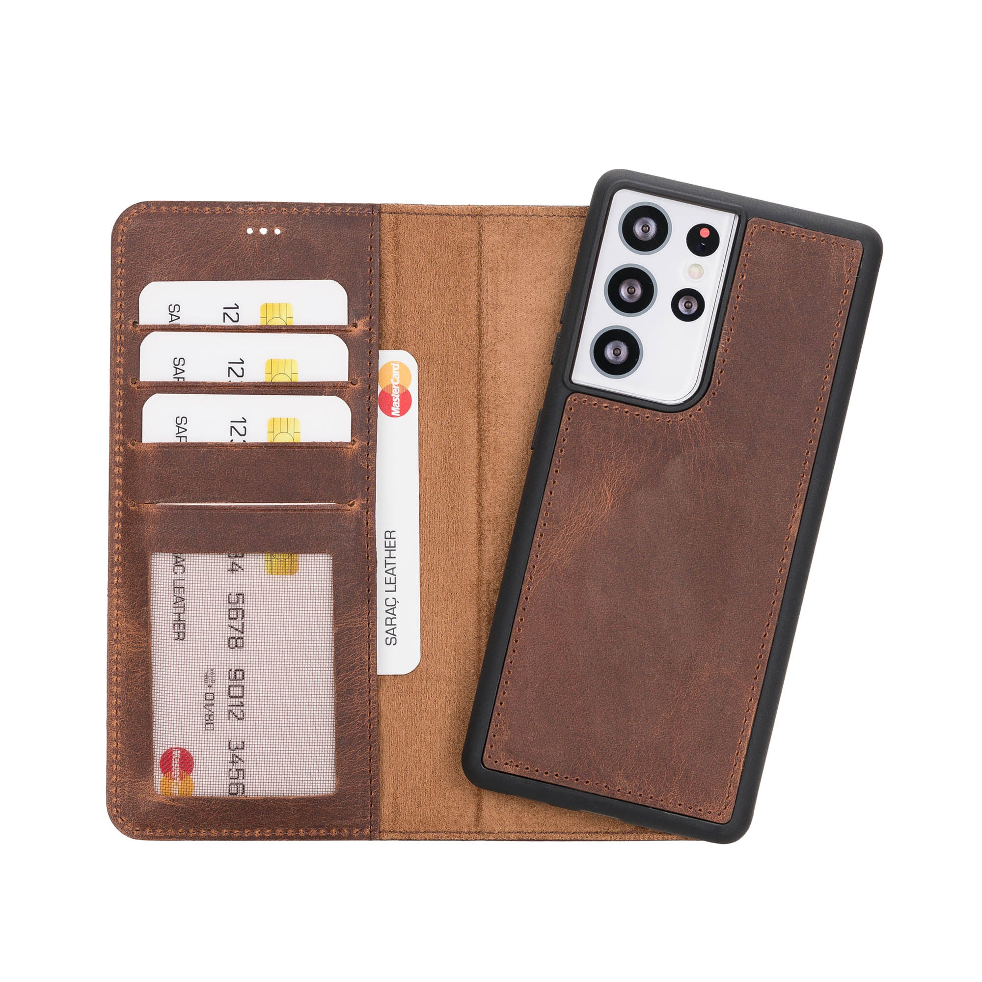 "Liluri Magnetic Detachable Leather Wallet Case for Samsung Galaxy S21 Ultra 5G (6.8"") - BROWN"