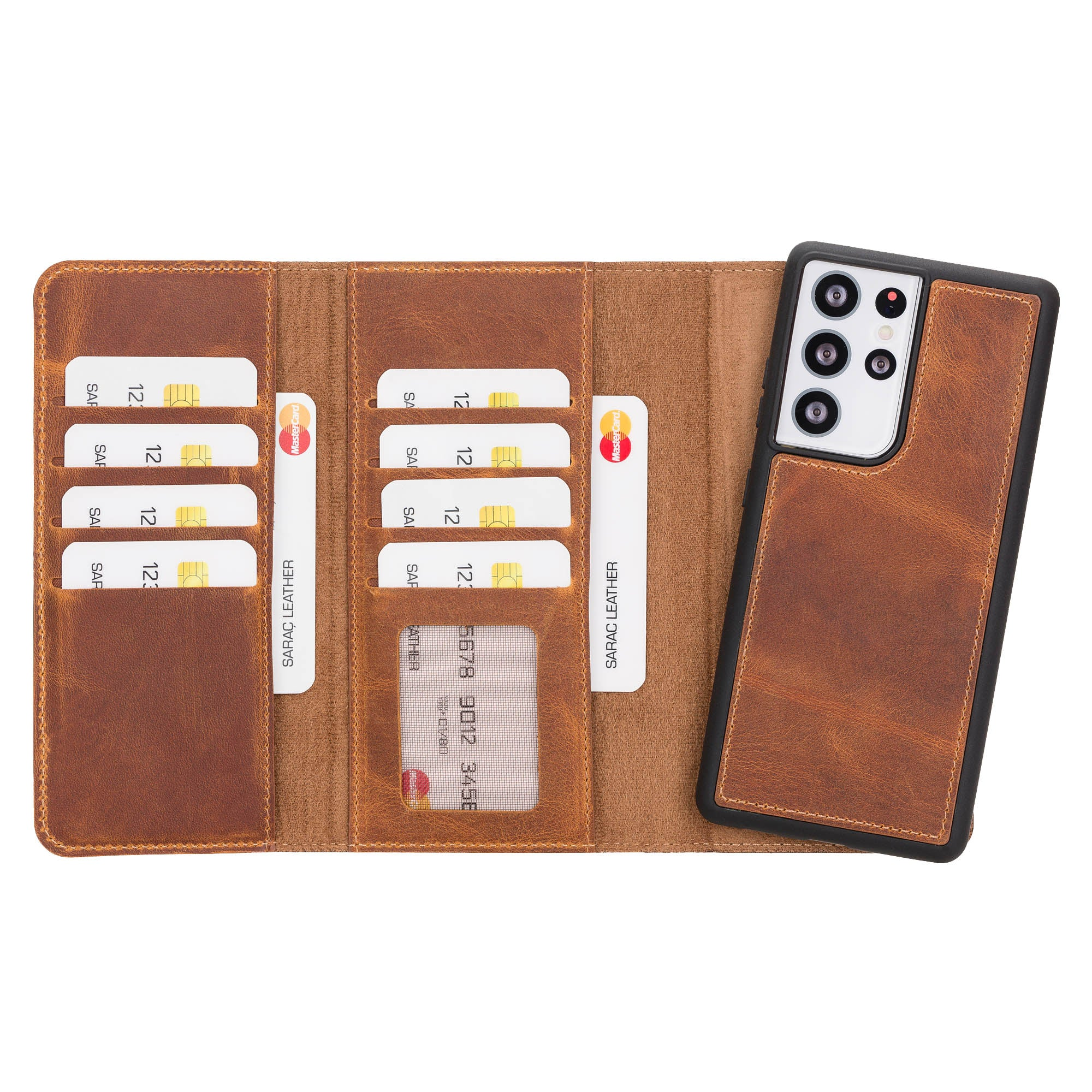 "Santa Magnetic Detachable Leather Wallet Case for Samsung Galaxy S21 Ultra 5G (6.8"") - TAN"