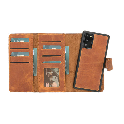 "Santa Magnetic Detachable Leather Wallet Case for Samsung Galaxy Note 20 / Note 20 5G (6.7"") - TAN"
