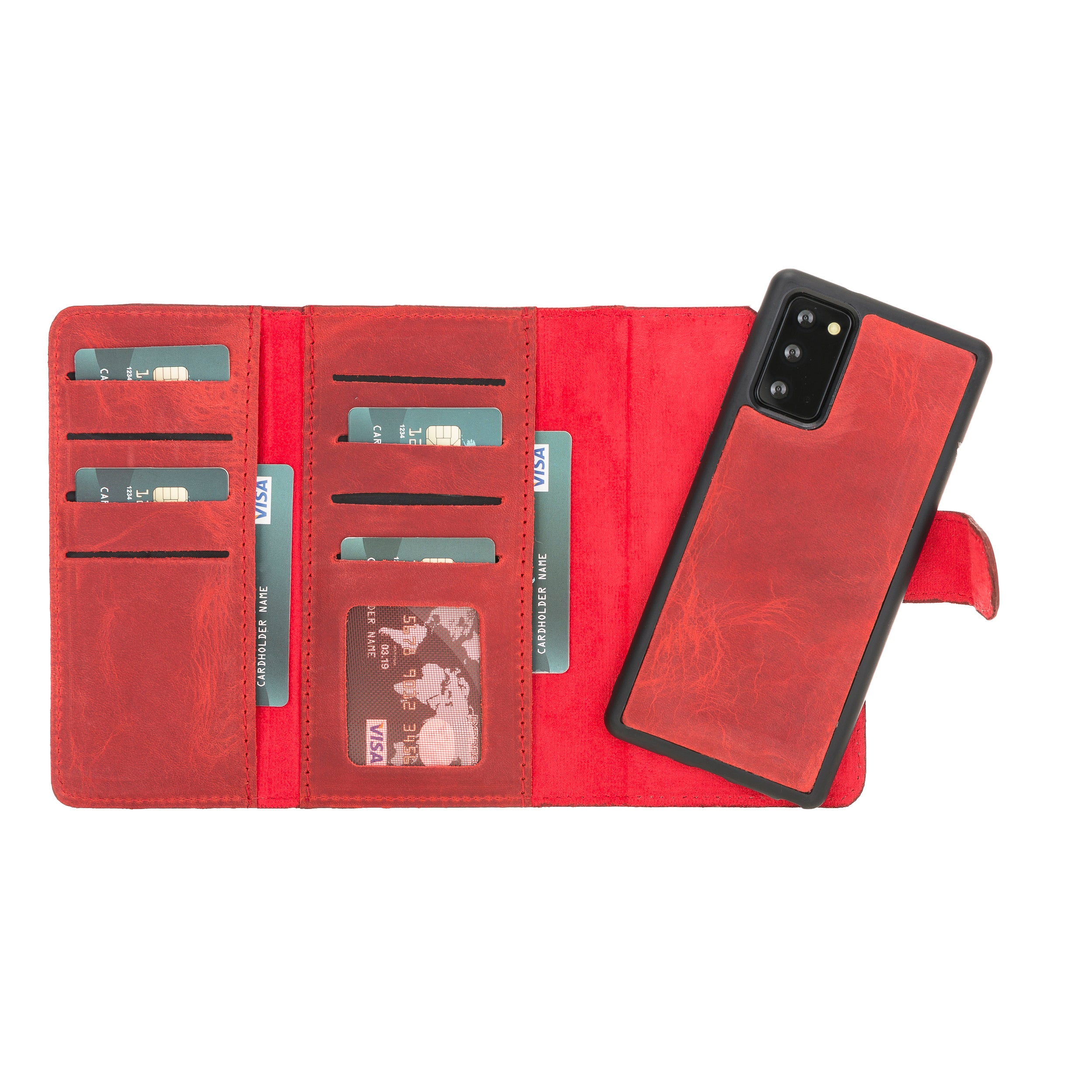 "Santa Magnetic Detachable Leather Wallet Case for Samsung Galaxy Note 20 / Note 20 5G (6.7"") - RED - saracleather"