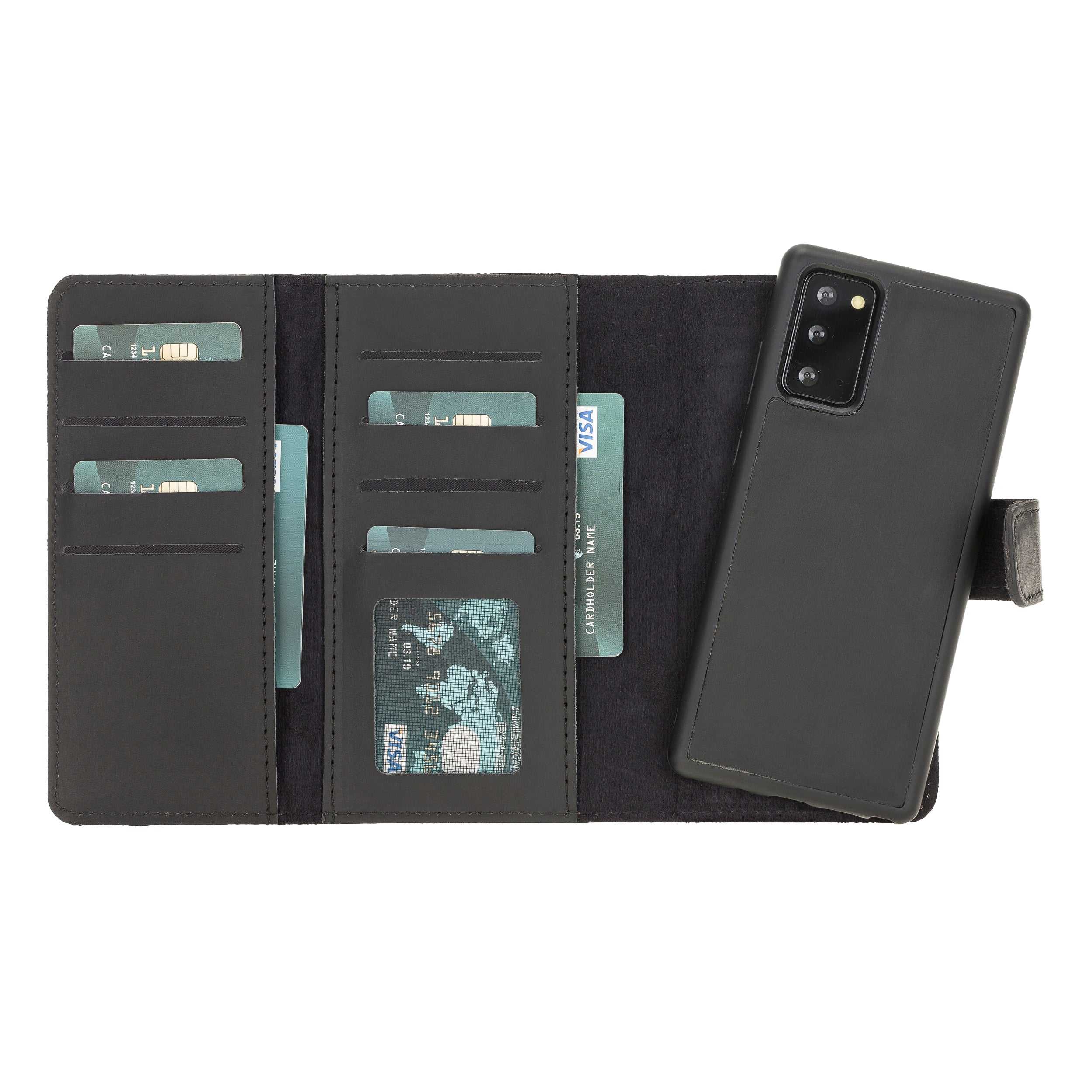 "Santa Magnetic Detachable Leather Wallet Case for Samsung Galaxy Note 20 / Note 20 5G (6.7"") - BLACK"