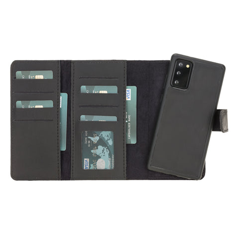 "Santa Magnetic Detachable Leather Wallet Case for Samsung Galaxy Note 20 / Note 20 5G (6.7"") - BLACK - saracleather"