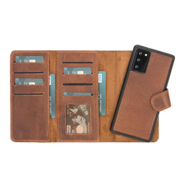"Santa Magnetic Detachable Leather Wallet Case for Samsung Galaxy Note 20 / Note 20 5G (6.7"") - BROWN - saracleather"