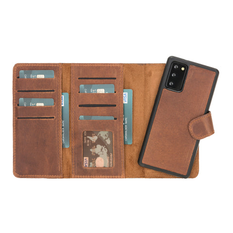 "Santa Magnetic Detachable Leather Wallet Case for Samsung Galaxy Note 20 / Note 20 5G (6.7"") - BROWN"