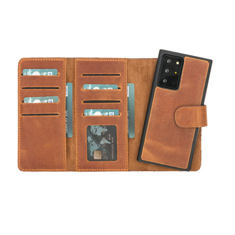 "Santa Magnetic Detachable Leather Wallet Case for Samsung Galaxy Note 20 Ultra / Note 20 Ultra 5G (6.9"") - TAN - saracleather"