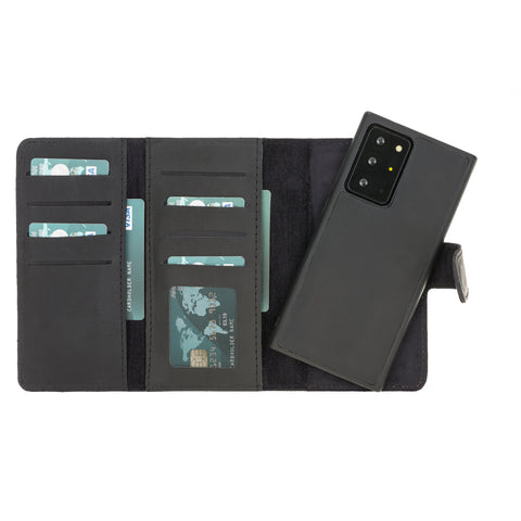 "Santa Magnetic Detachable Leather Wallet Case for Samsung Galaxy Note 20 Ultra / Note 20 Ultra 5G (6.9"") - BLACK"