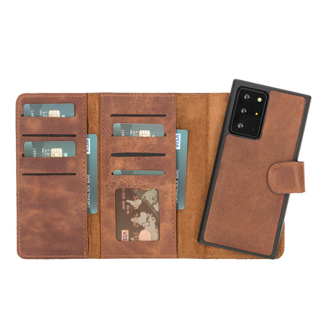 "Santa Magnetic Detachable Leather Wallet Case for Samsung Galaxy Note 20 Ultra / Note 20 Ultra 5G (6.9"") - BROWN"