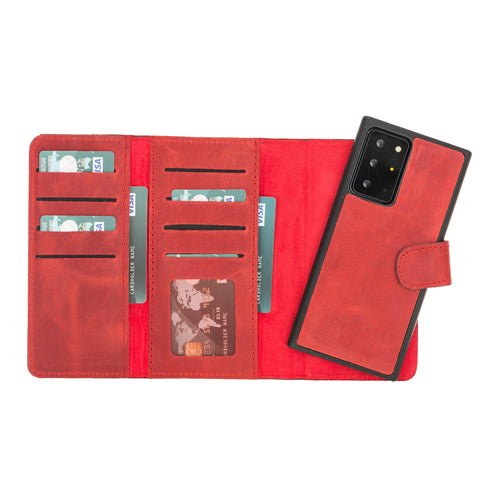 "Santa Magnetic Detachable Leather Wallet Case for Samsung Galaxy Note 20 Ultra / Note 20 Ultra 5G (6.9"") - RED - saracleather"