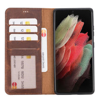 "Liluri Magnetic Detachable Leather Wallet Case for Samsung Galaxy S21 Ultra 5G (6.8"") - BROWN - saracleather"