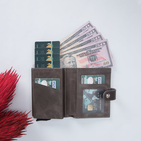 Palermo RFID Blocker Mechanism Pop Up Leather Wallet - GRAY - saracleather