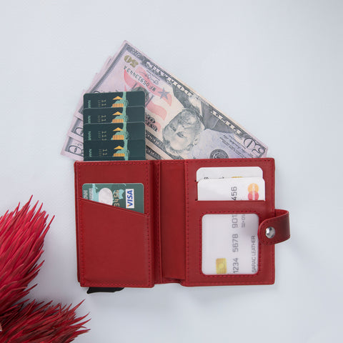 Palermo RFID Blocker Mechanism Pop Up Leather Wallet - RED - saracleather