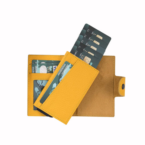 Mondello RFID Blocker Mechanism Pop Up Leather Wallet - YELLOW - saracleather