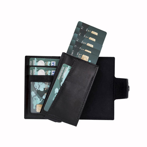 Mondello RFID Blocker Mechanism Pop Up Leather Wallet - BLACK - saracleather