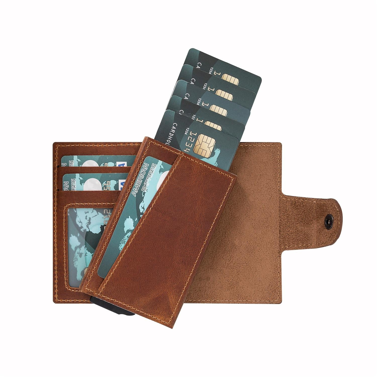 Mondello RFID Blocker Mechanism Pop Up Leather Wallet - TAN - saracleather