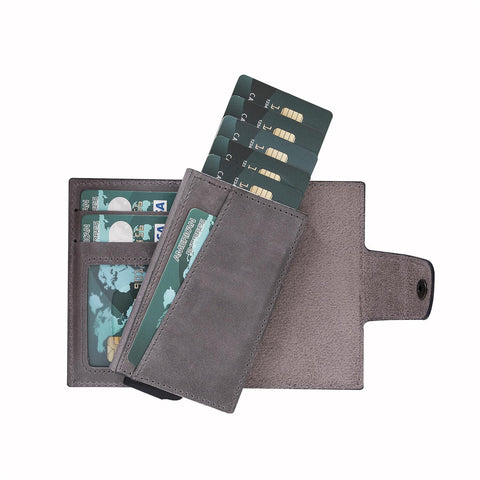 Mondello RFID Blocker Mechanism Pop Up Leather Wallet - EFFECT GRAY - saracleather