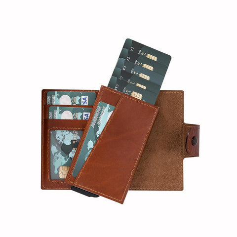 Mondello RFID Blocker Mechanism Leather Wallet - EFFECT BROWN - saracleather
