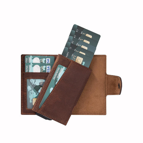 Mondello RFID Blocker Mechanism Pop Up Leather Wallet - BROWN - saracleather