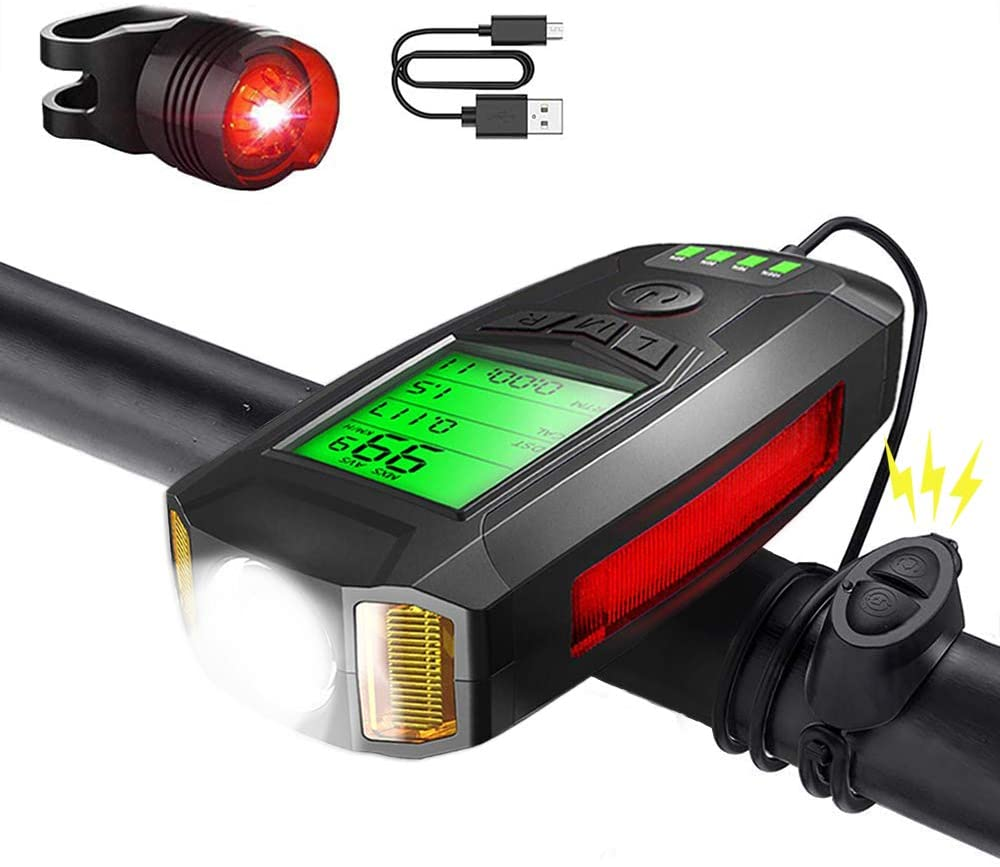 Super Bright USB Rechargeable Bike Front and Back LED Light with 5 Lighting Modes