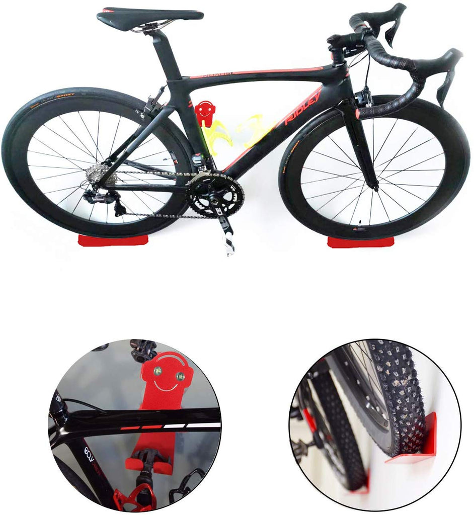 Update Bike Wall Mount Hanger, Heavy Duty Horizontal Bicycle Storage Rack Holder for Garage and Apartment-red