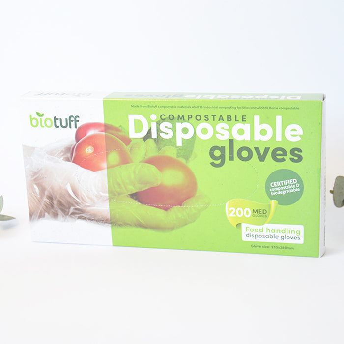 Compostable Disposable Gloves Biotuff Medium 200 pack