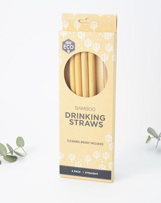 Reusable Bamboo Drinking Straws with Cleaning Brush 4 pack