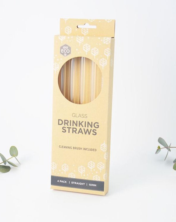 Reusable Glass Drinking Straws Plastic Free Dishwasher Safe 4 pack with Cleaning Brush