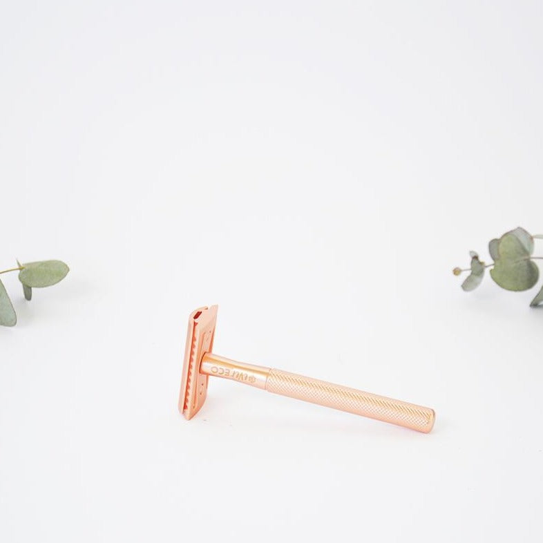 Rose Gold Safety Razor Plastic Free with Replacement Blades
