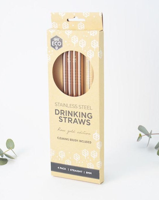 Rose Gold Dishwasher Safe Durable Stainless Steel Drinking Straws 4 pack